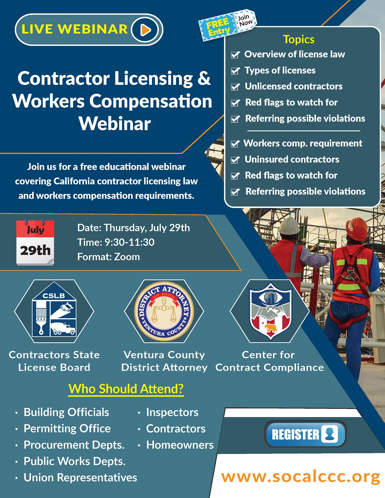 CSLB Worker Comp Licensing Flyer (E-mail)